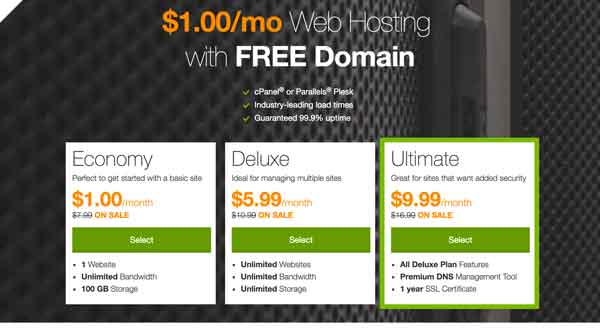 $1 Web Hosting with Free Domain Name
