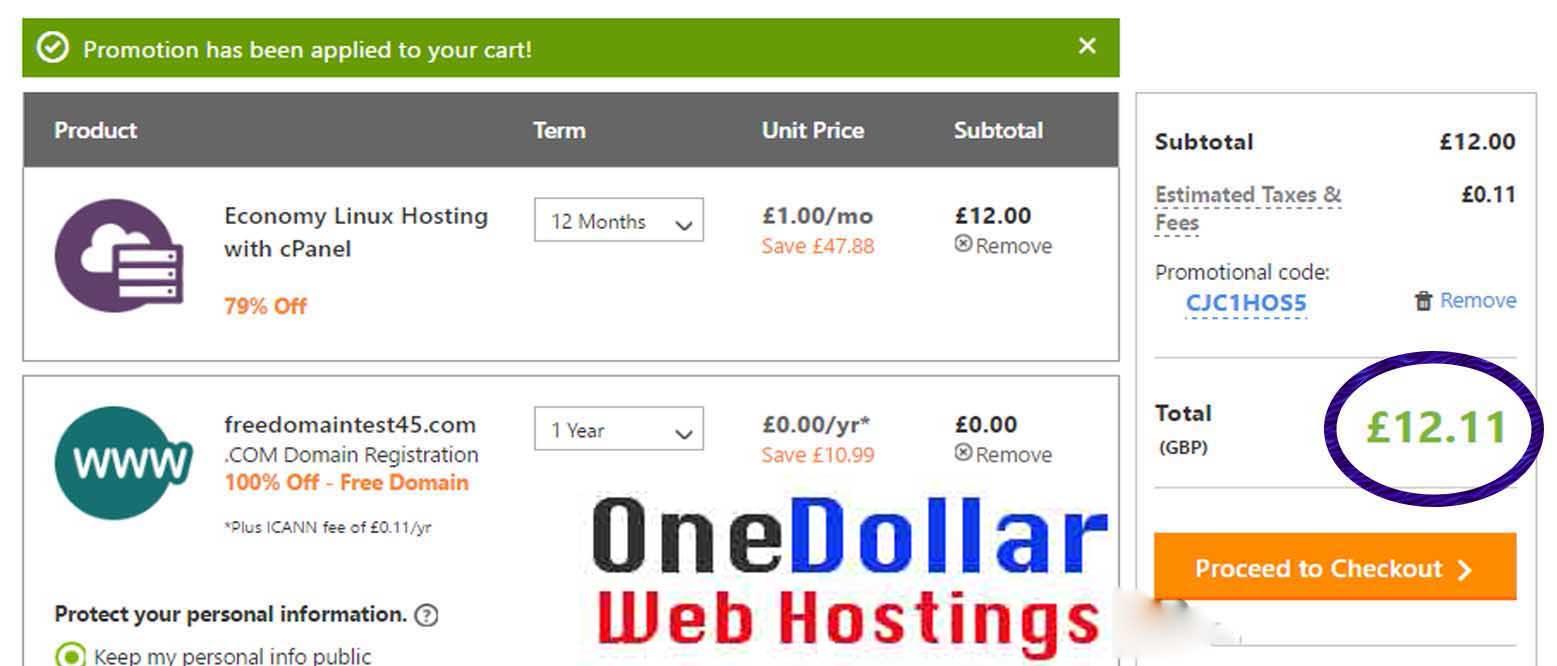 One Pound web hosting