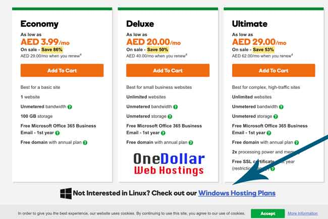 United Arab Emirates 4 Dirham Windows Hosting