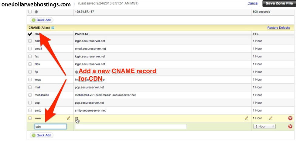 How to add cname record to godaddy