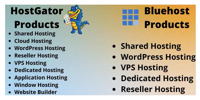 hostgator and bluehost products