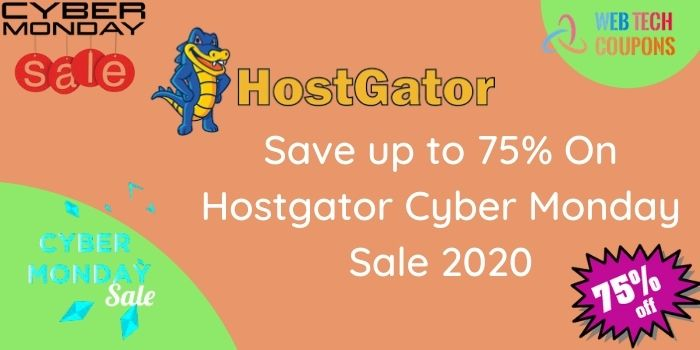 Hostgator 75% off cyber Mondays