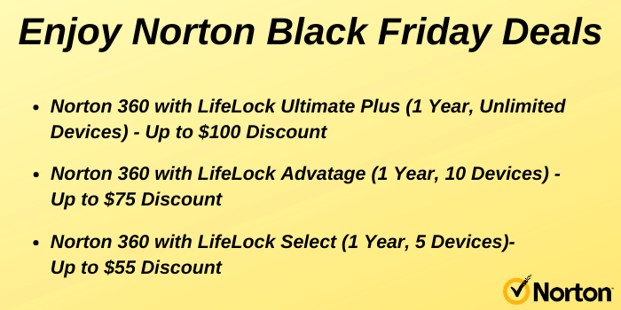 Norton Black Friday Deals on Norton 360 with LifeLock