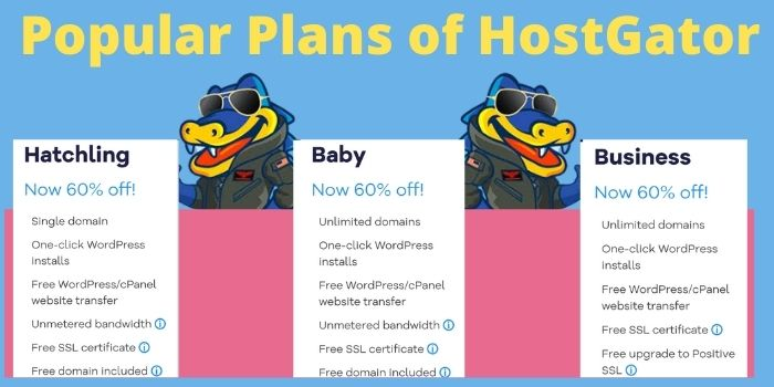 Popular Plans of HostGator