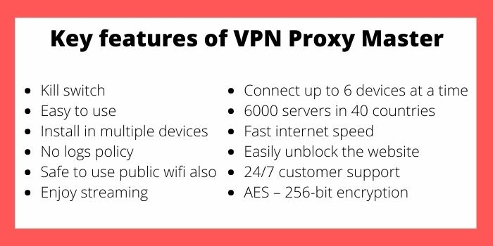 VPN Proxy Master Features