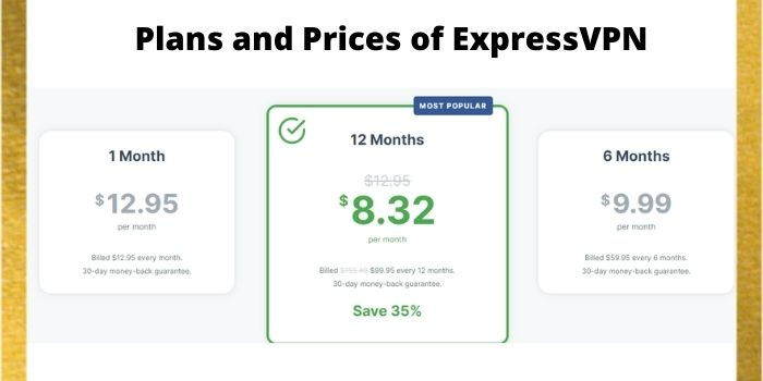 Plans and Prices of ExpressVPN